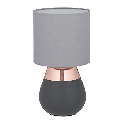 Relaxdays Nachttischlampe Touch dimmbar, moderne Touch Lampe, 3 Stufen, E14, Tischlampe, HxD: 32,5 x 18 cm, grau-kupfer