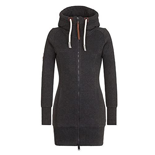 BIBOKAOKE Chaqueta de entretiempo para mujer con capucha, larga, cuello alto, sudadera con capucha, abrigo...