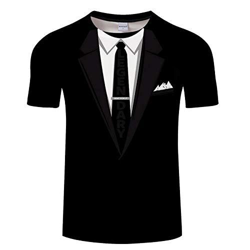 Simulación Corbata Negra Camiseta Estampada En 3D con Estampado Casual, Camiseta De Manga Corta para Hombres Y Mujeres