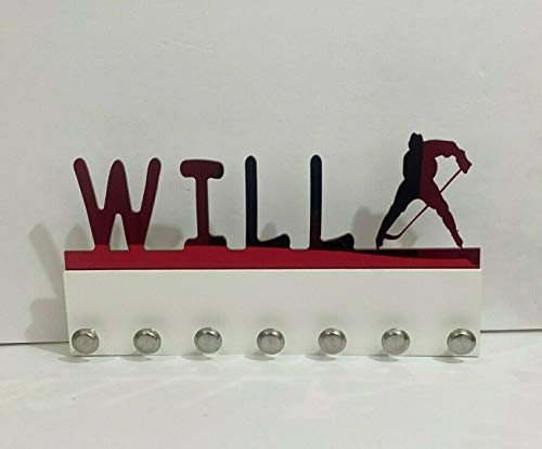 Custom Personalized Name Medal Holder Boy Men Man Male Ice Hockey Puck Speed Skate Skater Awards Display Hanger Rack with Hooks 60+ Medals Ribbons Sports 16'' Wide Made To Order With Your Name On It