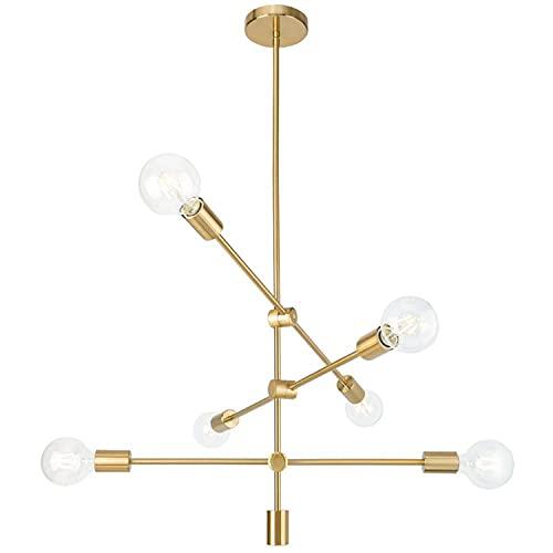 Ganeed Sputnik Candelabros Modernos 6 luces Candelabro de latón cepillado Iluminación colgante de mediados de siglo Luminaria de...