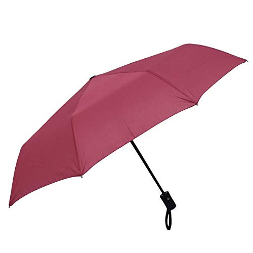 Exquisite kompakte Ultraleichtflugzeuge personalis Automatischer 3 Taschenschirm Einfarbig Sunrain Umbrella Portable Lightweight Holzgriff-bunter regensicherer Schatten (Color : Red, Size : M)