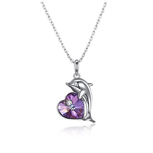 N/H Collar de plata925 Plata de Ley Mujer Collares con Colgantes Diamante Delfín Collar de Cristal Regalo para Damas Joyas Chica