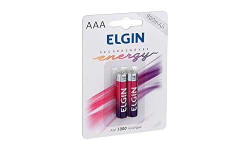 Pilha Recarregável Ni-MH AAA-900mAh blister com 2 pilhas, Elgin, Baterias