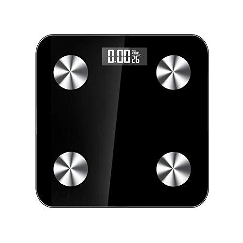 Bluetooth Körperfettwaage, elektronisch, Körperanalyse, Ultraschlanker Körper, automatische Schaltermaschine mit Nachtsicht-Anzeige Größe Schwarz