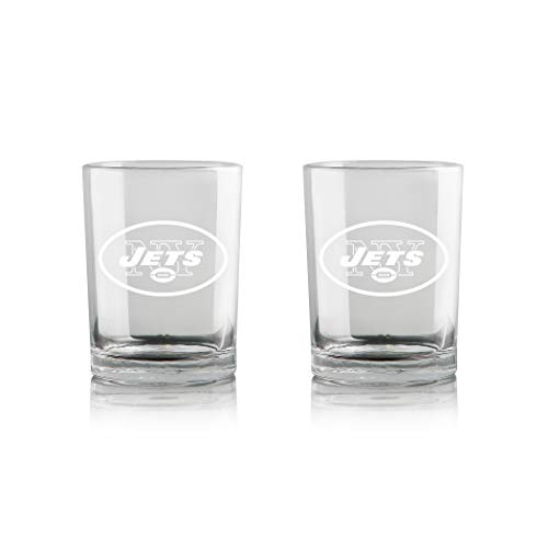 Duck House NFL New York Jets Whiskey Rocks Glass | Frosted Team Logo | Lead-Free | Premium Glassware | 12oz | Set of 2