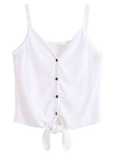 Romwe Women's Button Up Sleeveless Tie Front Knot Casual Loose Tee T-Shirt Crop Top White M