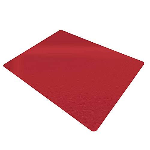 Certeo Tapis protège-Sol | LXL 90 x 120 cm | PP | pour sols durs et Moquette | Rouge | Tapis de Bureau Protection Sol Chaise à roulettes télétravail