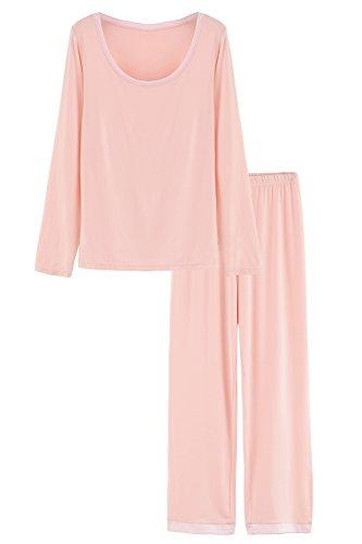 Latuza Women's Round Neck Sleepwear Long Sleeves Pajama Set L Light Pink