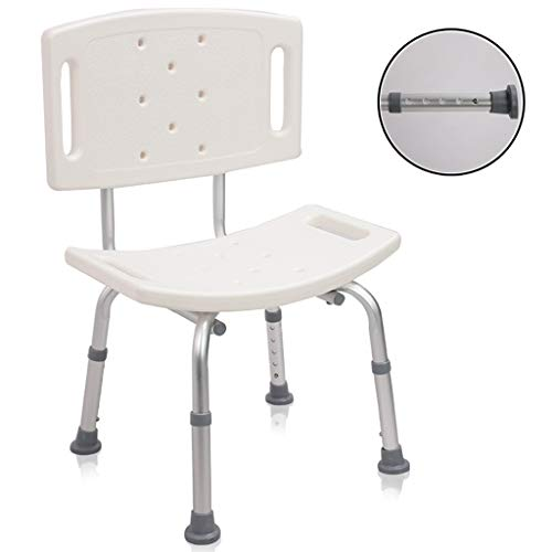 Douchestoel, lichtgewicht, in hoogte verstelbaar, antislip badkuip van aluminiumlegering met gebogen zitplaat - voor ouderen Handicap met een handicap