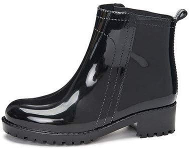 weichuang New Rubber Shoes Fashion Rain Boots Girls Ladies Walking Waterproof PVC Women's Boots Winter Woman Martins Rainboots Pink White (Color : Black, Shoe Size : 34)