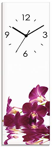 Artland Wanduhr ohne Tickgeräusche Glasuhr mit Motiv Design Quarz lautlos Größe: 20x60 cm Phalaenopsis Orchidee S7NF Lila