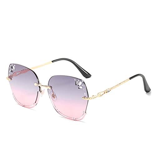 AMFG Gafas de sol sin montura europeas y americanas Hombres y mujeres personalidad Gafas de diamante de diamante de moda Gafas de sol Pesca de viaje al aire libre (Color : G)