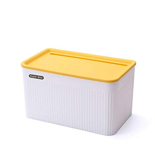 Suytan Waterproof Tissue Box Cover Holder, Wall Mount Self Adhesive Toilet Paper Holder with Storage Box Shelf, Plastic Paper Towel Dispenser for Bathroom Living Room (Color : Blue, Size : L),Yellow,