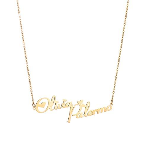 JIAQINGRNM - Collana a forma di cuore, con nome inglese e lettera