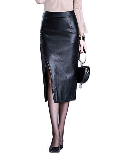 Damen Pu-Lederrock Bleistiftrock High Waist Bodycon Elastisches Plus Size Midi Rock Schwarz 4XL