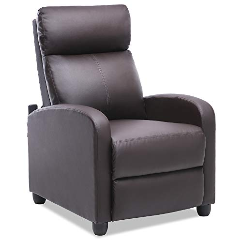 ERGOREAL Recliner Chair Massage Modern Reclining Single Sofa for Living Room, Premium PU Leather Push Back Chairs, Padded Cushion, Home Theater Seating Adjustable Massage Remote-Brown