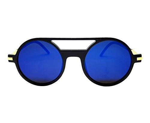 Gafas de sol para hombre y mujer, redondas, espejo juvenil.
