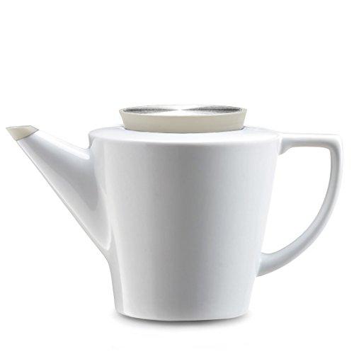 Viva Scandinavia Théière en Porcelaine avec infuseur thé en Acier Inoxydable, 1.2 L, théière Blanche et Couvercle Beige, Bec Anti-Gouttes