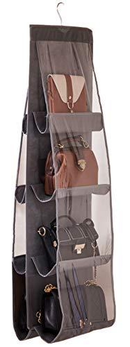 AARAINBOW Hanging Handbag Purse Organizer,Breathable Polyester Fiber+PVC Handbag Organizer,8 Easy Access Pockets,Wardrobe Closet Space Saving Organizers System,Washable,46 L x 13.8W(B-Gray)