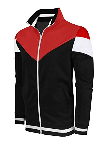 SCREENSHOTBRAND-F11956 Mens Urban Hip Hop Premium Track Jacket - Athletic Color Block Fashion Sweatshirt-BK/RD-Medium