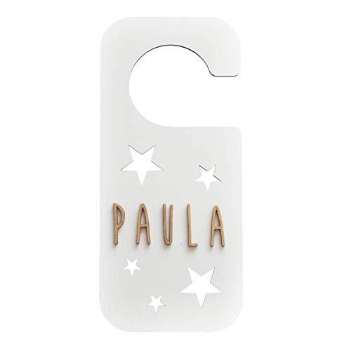 VINTIUN Placa Pomo Puerta Blanca Con Kit De Letras. Estrellas Imágenes enmarcadas