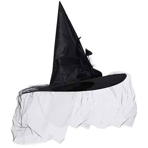 NUOBESTY Sombrero de bruja con velo, gorro de bruja para disfraz, decoracin de disfraz de cosplay para fiesta de Halloween, color negro