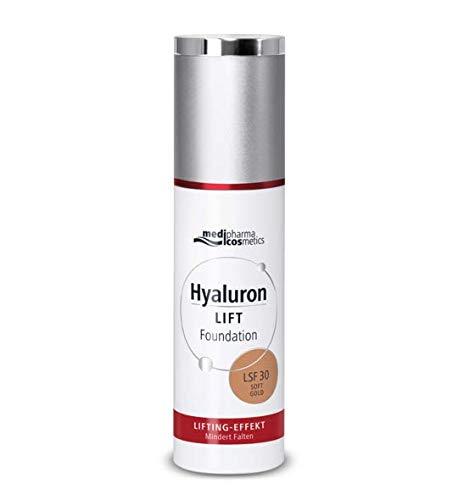 Hyaluron Lift Foundation Soft Gold LSF 30 30ml Neu von Medipharma LIFTING-EFFEKT Mindert Falten Mattierendes Make-up Fluid für ein strahlendes Finish