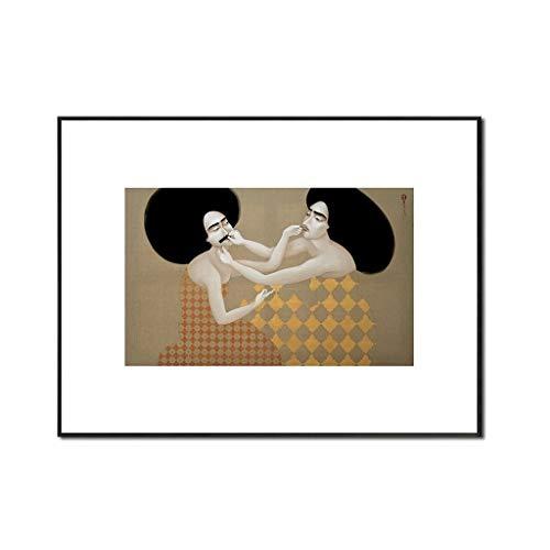 Impressions sur toile Illustration Retro Nostalgique Imprimer Wall Art Ensemble Décoration de table Peinture Niche Chambres d'hôtes Hôtel Peinture Chambre (Taille : 30 * 40cm)