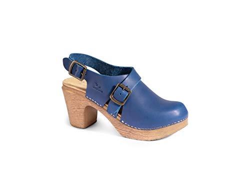 Calou Stockholm Clog Soft High Heel - Swedish Clogs- Woman Sandal Astrid Coboltblau (40 EU, Blau (Coboltblau))