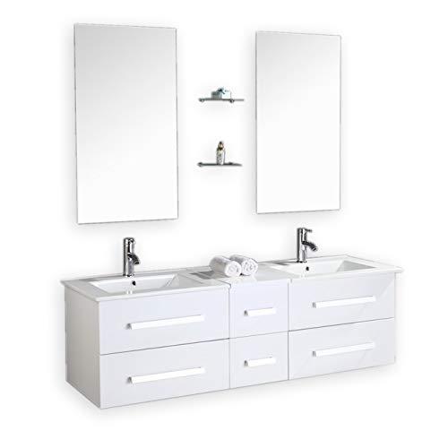 Mueble de baño. Conjunto de 150cm, doble lavabo, grifos incluidos, modelo White Rome