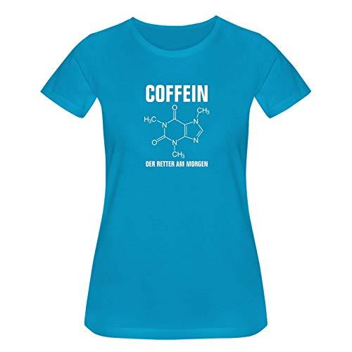 T-Shirt Coffein Retter am Morgen Kaffee Spruch Humor Fun 15 Farben Damen XS-3XL Koffein Junkie Energiedrink Geschenk Idee, Größe:M, Farbe:Azure/türkis - Logo Weiss