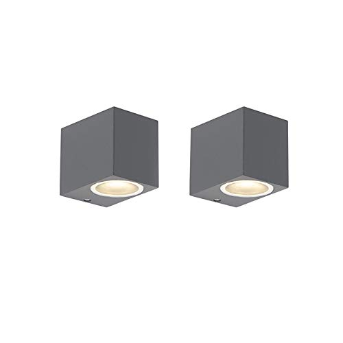 QAZQA Set van 2 moderne wandlampen antraciet IP44 - Baleno I Aluminium Rechthoekig Geschikt voor LED Max. 2 x 35 Watt