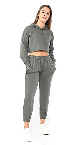 Elite Pleasure Womens Ladies 2pc Long Sleeve Hooded Crop Top Bottoms Co Ord Set Tracksuit Khaki M/L = UK 12/14