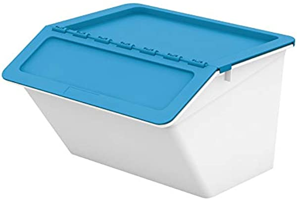 Livinbox Stackable Storage Bins 6PCS PP Plastic Pelican Cubes Containers Box With Hinged Lids 30L MHB 4541 Blue