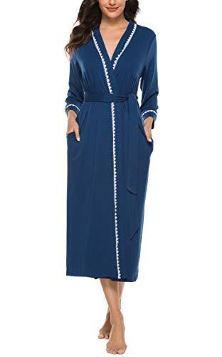 Vlazom dames ochtendjas V-hals badjas lang kimono nachtkleding met zakken en riem saunajas pyjama S-XXL