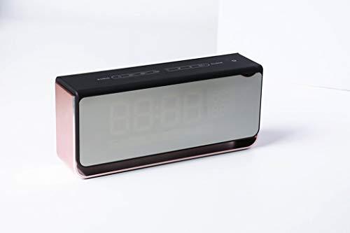 LRWEY Wireless Bluetooth Lautspreche, drahtloser Bluetooth-Lautsprecher LED-Lichtwecker mit FM-Radio-Spiegelanzeige, MP3-Player Portabler Wireless-Lautsprecher