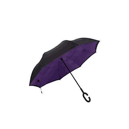 Neckip Stockschirme Umgekehrter Regenschirm mit Doppelschicht und C-förmigem Griff Wasserdichter Handfreier Regenschirm