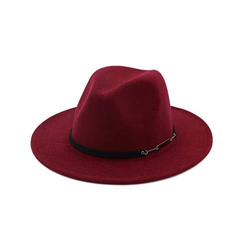 ZHANGJINPING Vintage Vrouwen Mannen wolvilt waterafstotende Outback Fedora Hoed Met Wide Brim Gangster Trilby Vilt Jazz Hat (Color : Red, Size : 56-58)