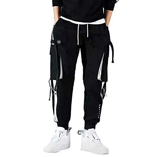 AOCRD Pantalones de estilo harén para hombre, de gran tamaño, sueltos, estilo hippie, color negro, tallas S-5XL, Negro , XXL