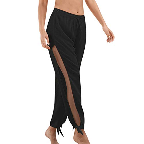 WOZOW Kurze Hosen Damen Solid Side Slit Split Bettwäsche Baumwolle Pants Lose Swing Bequem Kordelzug Tie Yoga Ankle Pumphose Sommer (M,Schwarz)