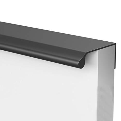 HBLZG Manija Moderna aleación de Aluminio Armario Gabinete Muebles de la Puerta Tiradores, Oculto Dedo Tirador for el hogar Puerta de la Cocina del gabinete del cajón (Color : Black, Size : 400mm)