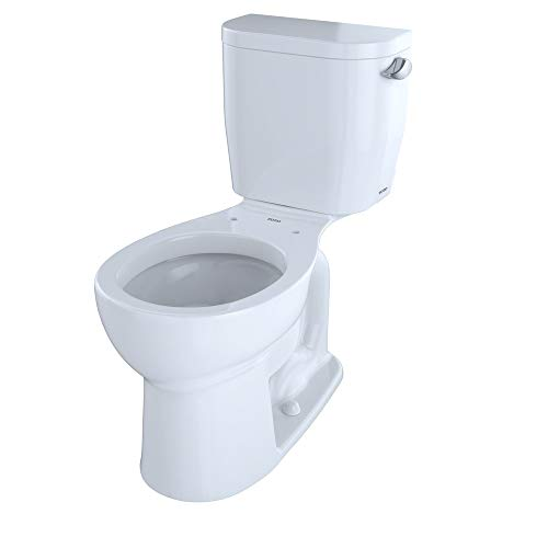 TOTO CST243EFR#01 Entrada TwoPiece Round 128 GPF Universal Height Toilet with RightHand Trip Lever Cotton White