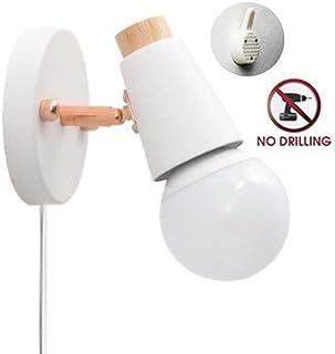 STGLED ブラケットライト コンセント式 ON/OFFスイッチ付き 壁取付ランプ 壁掛けフックにて固定 穴あけ不要 アンティーク調 レトロ おしゃれ ウォールライト インテリア照明 LED対応 ホワイト