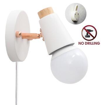 STGLED ブラケットライト コンセント式 ON OFFスイッチ付き 壁取付ランプ 壁掛けフックにて固定 穴あけ不要 アンティーク調 レトロ おしゃれ ウォールライト インテリア照明 LED対応 ホワイト