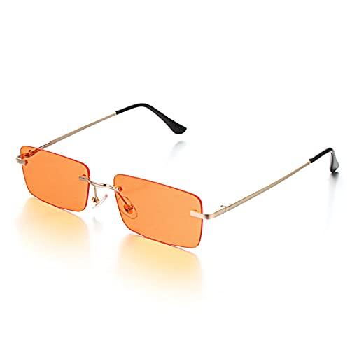 NJJX Gafas De Sol Sin Montura Rectangulares De Moda Para Mujer, Gafas Graduadas Retro Unisex, Gafas, Accesorios De Ropa De Calle, Naranja