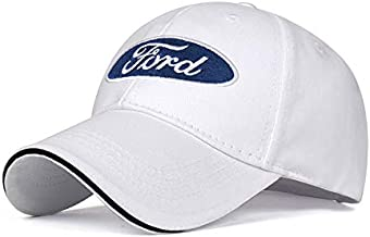 JDclubs Ford Logo Embroidered Adjustable Baseball Caps for Men and Women Hat Travel Cap Car Racing Motor Hat (White)