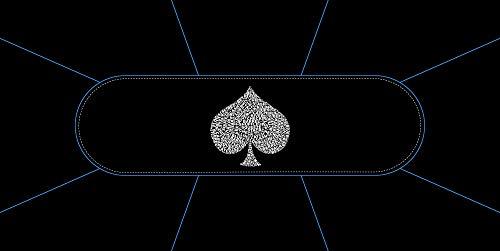 Tapis de Poker Typo Spade - Rectangle 8 Places 180x90 cm. Fabrication Française