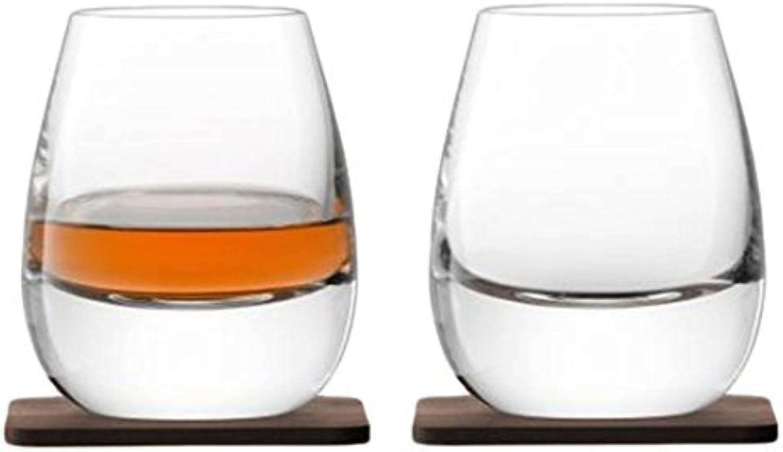 LSA International Whisky Islay Tumbler & Coaster (2 Pack), 8.5 fl. oz., Clear Walnut