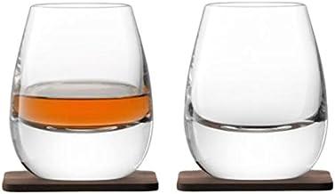 LSA International G1213-09-301 Whisky Islay Tumbler 8.5 fl oz Clear & Walnut Coaster x 2, Clear/Walnut
